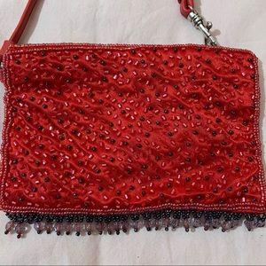 Vintage red sparkly wristlet